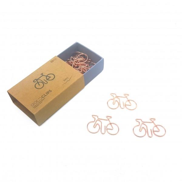 GOLDCLIP Büroklammer Fahrrad in roségold - Heftklammern mit Verpackung (Inh. 15 Stück)