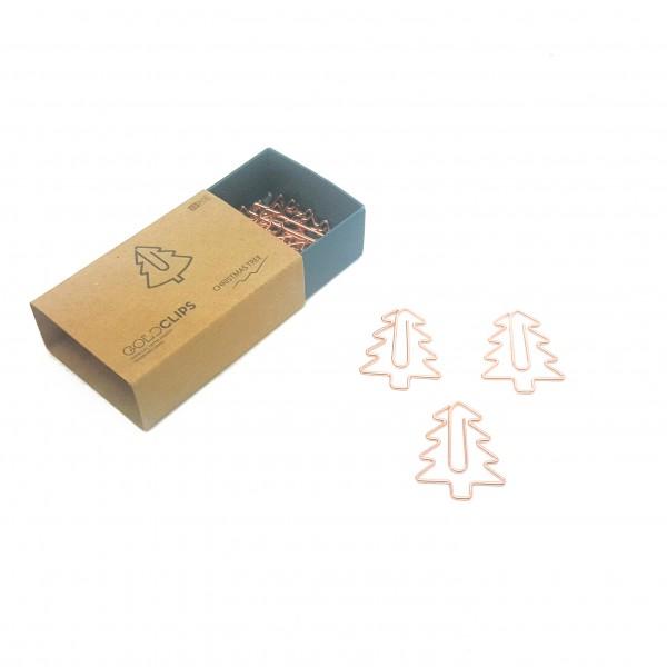GOLDCLIP Büroklammer Tannenbaum in roségold - Heftklammern mit Verpackung (Inh. 15 Stück)