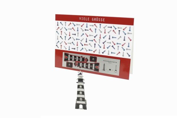 Edelstahl-Grußkarte - Leuchtturm