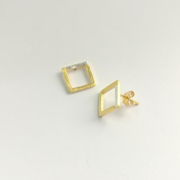 Ohrstecker Viereck Kontur gelbgold vergoldet aus 925 Sterling Silber