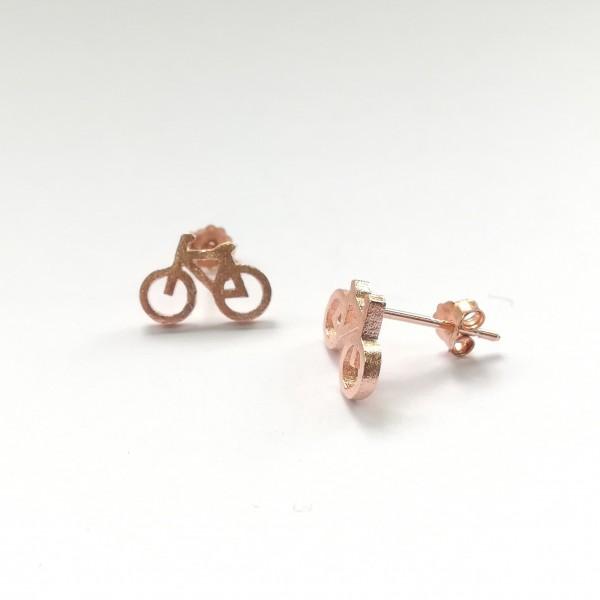 Ohrstecker Fahrrad rosegold vergoldet aus 925 Sterling Silber