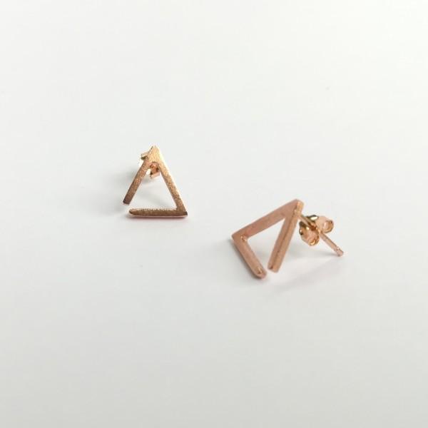 Ohrstecker Dreieck Kontur rosegold vergoldet aus 925 Sterling Silber