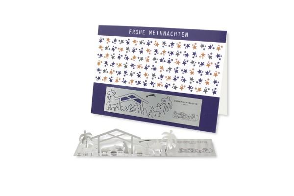 Edelstahl-Grußkarte - Krippe