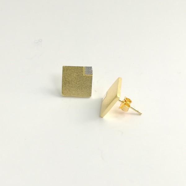 Ohrstecker Viereck 3D gelbgold vergoldet aus 925 Sterling Silber