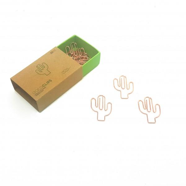 GOLDCLIP Büroklammer Kaktus in roségold - Heftklammern mit Verpackung (Inh. 15 Stück)