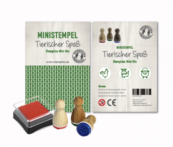 Mini Stempel Stempelset 3er Pack Tierischer Spaß