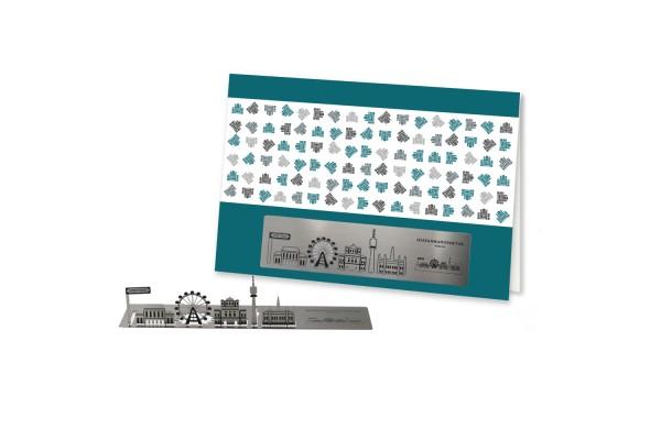 Stainless Steel Greeting Card - Vienna Skyline