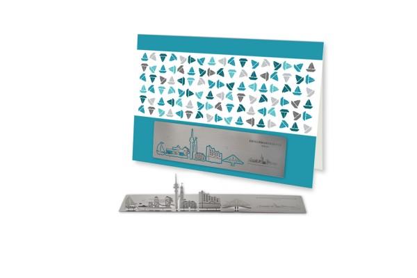 Edelstahl-Grußkarte - Skyline Hamburg