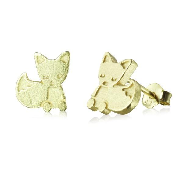 Ohrstecker Fuchs gelbgold vergoldet aus 925 Sterling Silber matt