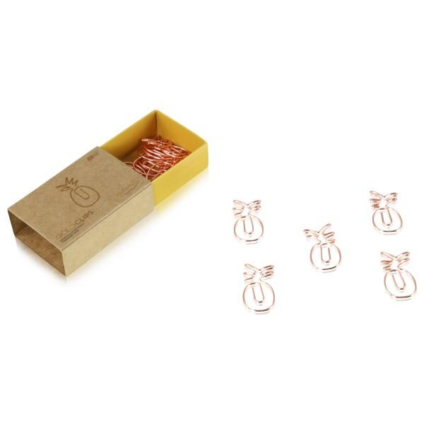 GOLDCLIP Büroklammer Ananas in roségold - Heftklammern mit Verpackung (Inh. 15 Stück)
