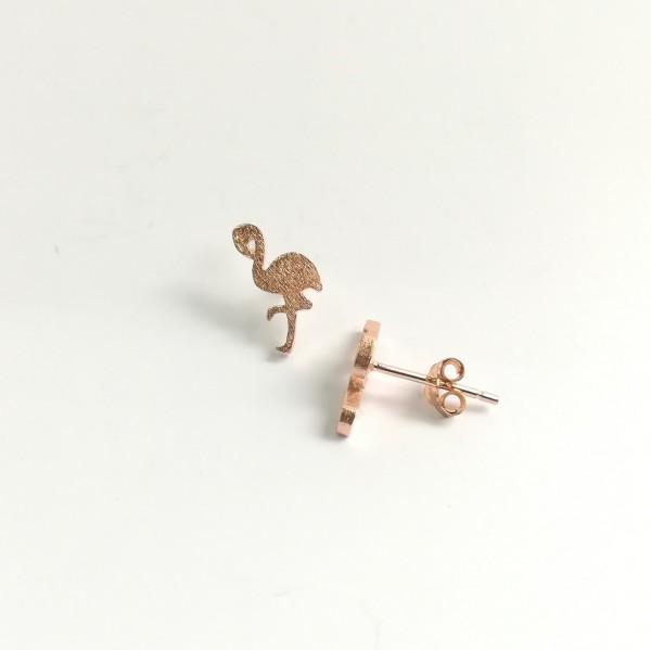 Ohrstecker Flamingo rosegold vergoldet aus 925 Sterling Silber