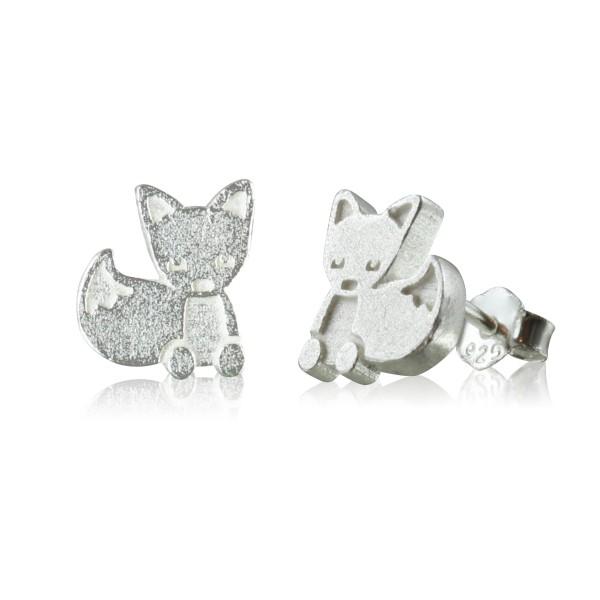 Ohrstecker Fuchs aus 925 Sterling Silber matt