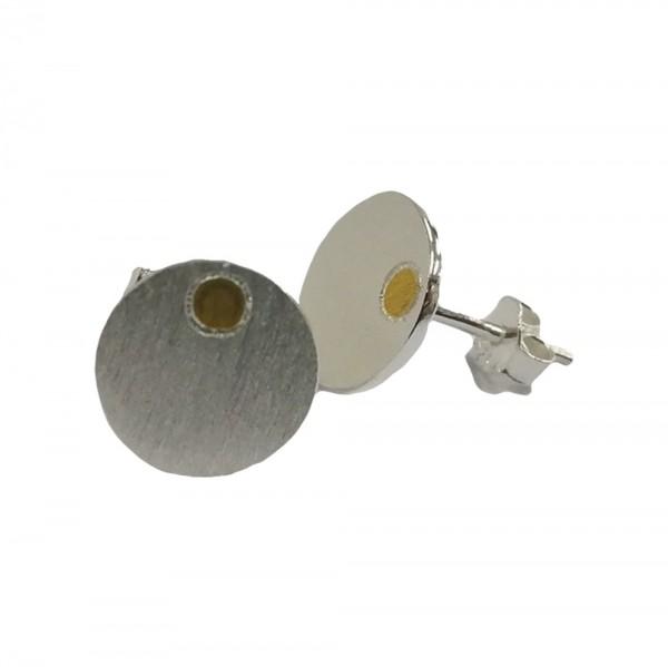 Ohrstecker Kreis aus 925 Sterling Silber mit Gold