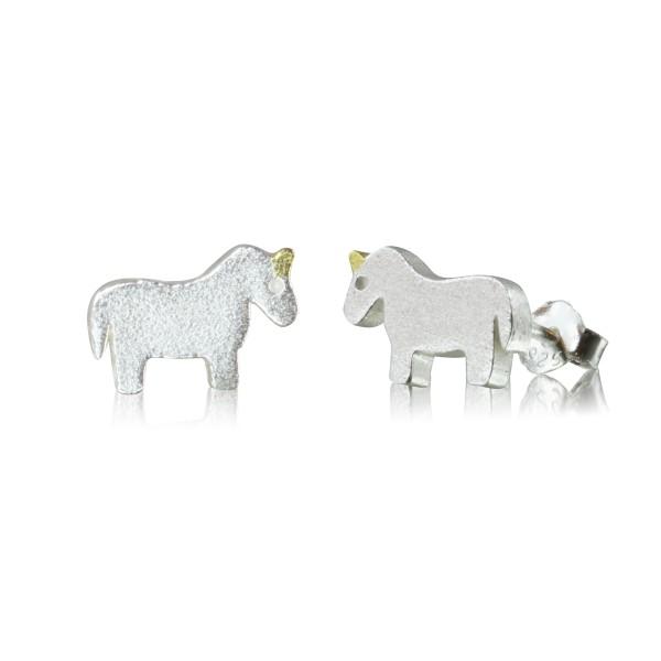 Ohrstecker Einhorn aus 925 Sterling Silber matt