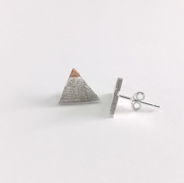 Ohrstecker Dreieck silber mit rosegold vergoldet aus 925 Sterling Silber
