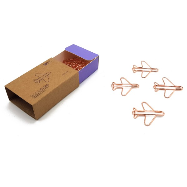 GOLDCLIP Büroklammer Flugzeug in roségold - Heftklammern mit Verpackung (Inh. 15 Stück)