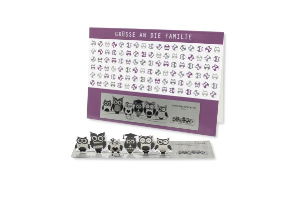 Stainless Steel Greeting Card - Owl Family