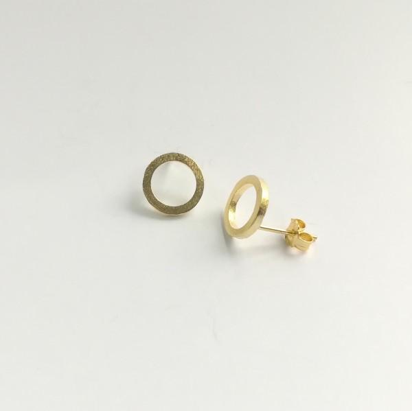 Ohrstecker Kreis Kontur gelbgold vergoldet aus 925 Sterling Silber